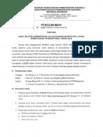 Pengumuman Administrasi Cpns Bappenas 2018
