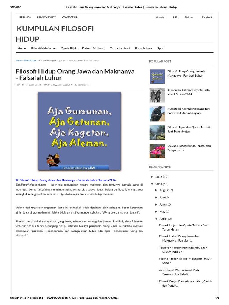 Filosofi Hidup Orang Jawa Dan Maknanya Falsafah Luhur