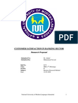 customer satisfaction in banking sector research proposal
