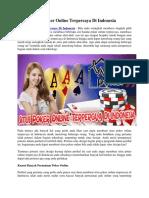 Situs Poker Online Terpercaya Di Indonesia   Warungpoker99
