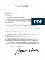 Attorney General Jeff Sessions Forced Resignation Letter Filed 11/7/18
