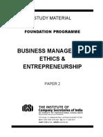Business Management Ethics & Entrepreneurship