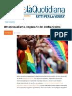 Omosessualismo, Negazione Del Cristianesimo