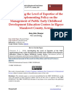 An Investigation Into the Level of Expertise of the Staff in Implementing Policy on the Management of Public Early Childhood Development Education Centres in Elgeyo Marakwet County, Kenya