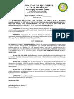 Business BDRRM Plan Resolution