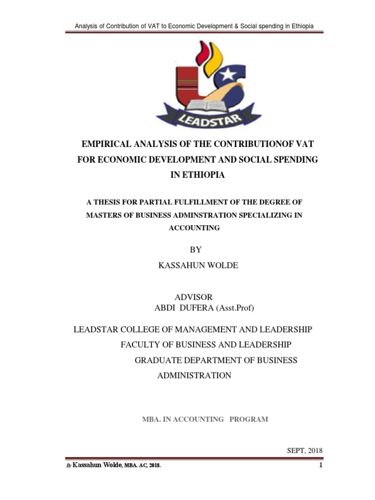 Analysis of the Contributionof Vat for Economic Development and