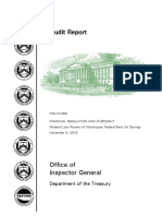 Treasury Department Audit of Washington Federal Bank for Savings (OIG-19-009)... Nov. 6, 2018