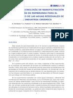 USO DE LA TECNOLOGÍA DE NANOFILTRACIÓN A TRAVES DE MEMBRANAS PARA EL TRATAMIENTO DE AGUAS RESIDUALES