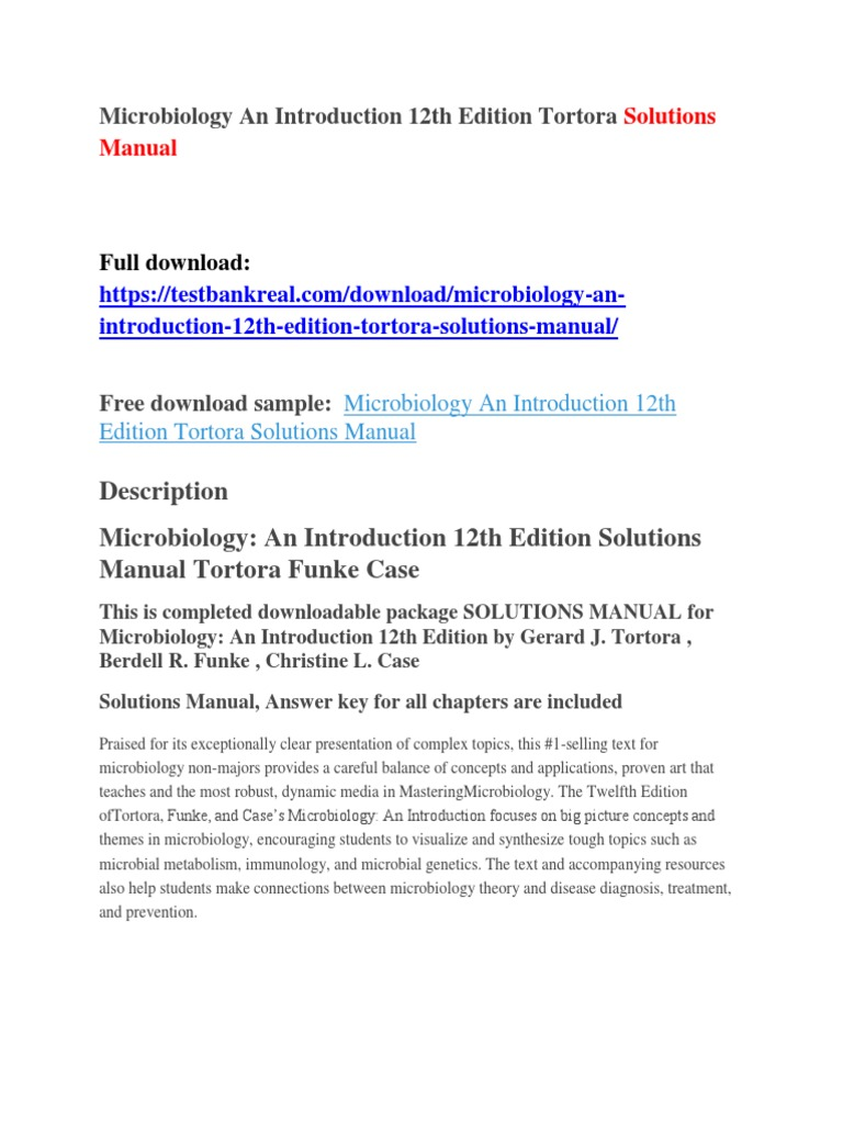 Microbiology An Introduction 12th Edition Tortora Solutions Manual