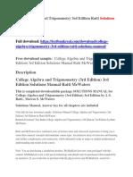 College Algebra and Trigonometry 3rd Edition Ratti Solutions Manual