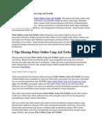 5 Tips Menang Game Online Poker Uang Asli