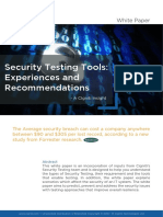 Security Testing Tools Experiences and Recommendations