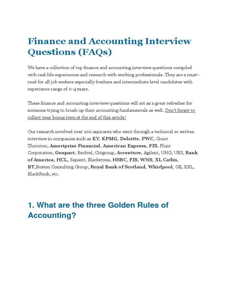 Finance and Accounting Interview Questions | Depreciation