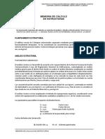 MEMORIA DE CALCULO DE ESTRUCTURAS COLEGIO