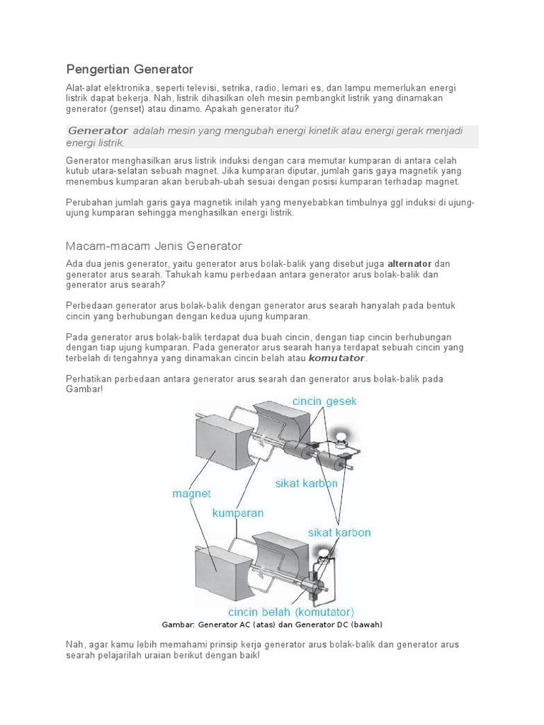 Generator Adalah Peralatan Yang Mengubah Energi Gerak ...