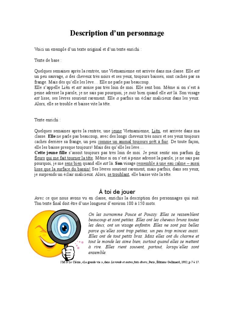 Exemple De Texte Descriptif D Un Personnage - Le Meilleur ...