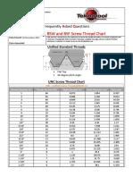 UNC UNF BSW BSF Screw Thread Chart