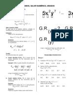 Polinomios, Valor Numérico, Grados