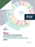 Linea de Base de Los Principales Indicadores de Los Objetivos de Desarrollo Sostenible
