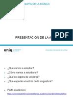 Presentación de La Asignatura_Estetica y Filosofia de La Musica
