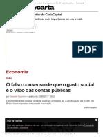 O Falso Consenso de Que o Gasto Social é o Vilão Das Contas Públicas — CartaCapital