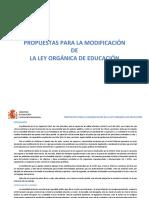 Propuestas para la Modificación de la Ley de Educación