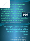 Meaningful Use of EHR in a PCMH Lurio