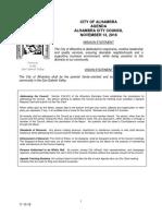 Alhambra City Council agenda -- Nov. 9, 2018