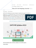 GATE Mechanical Syllabus 2019 With Weightage, Download PDF
