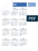 2019 Yearly Holiday Calendar