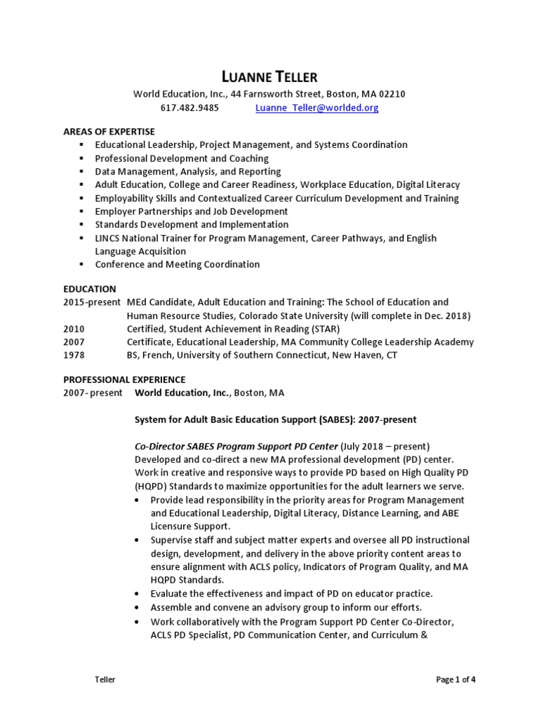 teller resume 11-2018 | Adult Education | English As A Second Or Foreign  Language