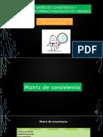 Matriz de Consistencia y Operacionalización de Variables