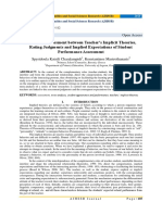 Relational Assessment between Teacher's Implicit Theories, Rating Judgments and Implied Expectations of Student Performance Assessment