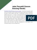 Pengobatan Penyakit Gonore (Kencing Nanah)