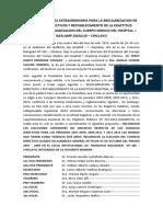 Acta de Asamblea Extraordinaria Para La Regularizacion de Consejos Directivos y Restablecimiento de La Exactitud Registral de La Asociacion Del Cuerpo Medico Del Hospital i Naylamp Essalud