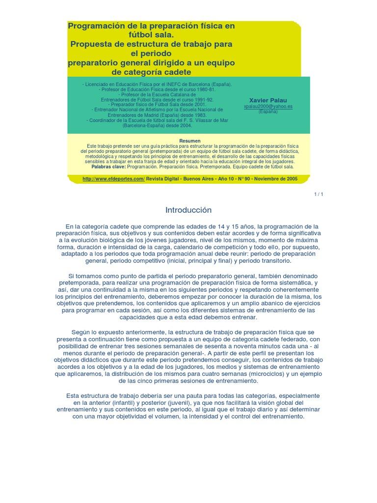 Preparacion Fisica En Futbol Sala Asociación De Futbol Educación Física