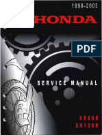 Honda Xr80r Xr100r Service Repair Manual 1998-2003 Xr80 Xr100