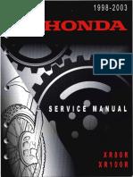 Honda Xr80r Xr100r Service Repair Manual 1998-2003 Xr80 Xr100