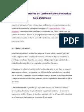 El Modelo Transteórico Del Cambio De James Prochaska Y Carlo