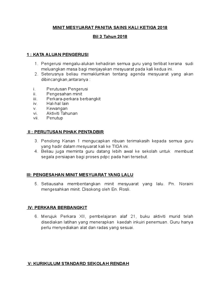 Minit Mesyuarat Panitia Sains Kali Ketiga 2018 Doc