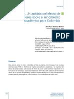 Un Analisis Del Efecto Pares Sobre Rendimiento Academico Para Colombia PISA