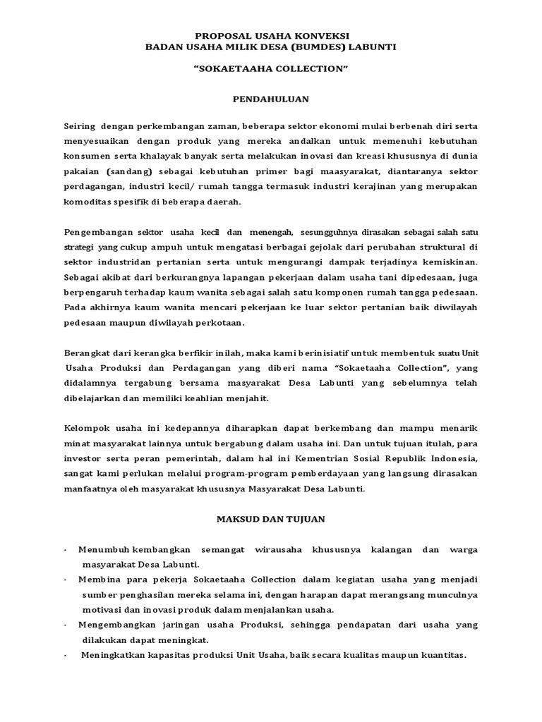 Contoh Proposal Usaha Konveksi