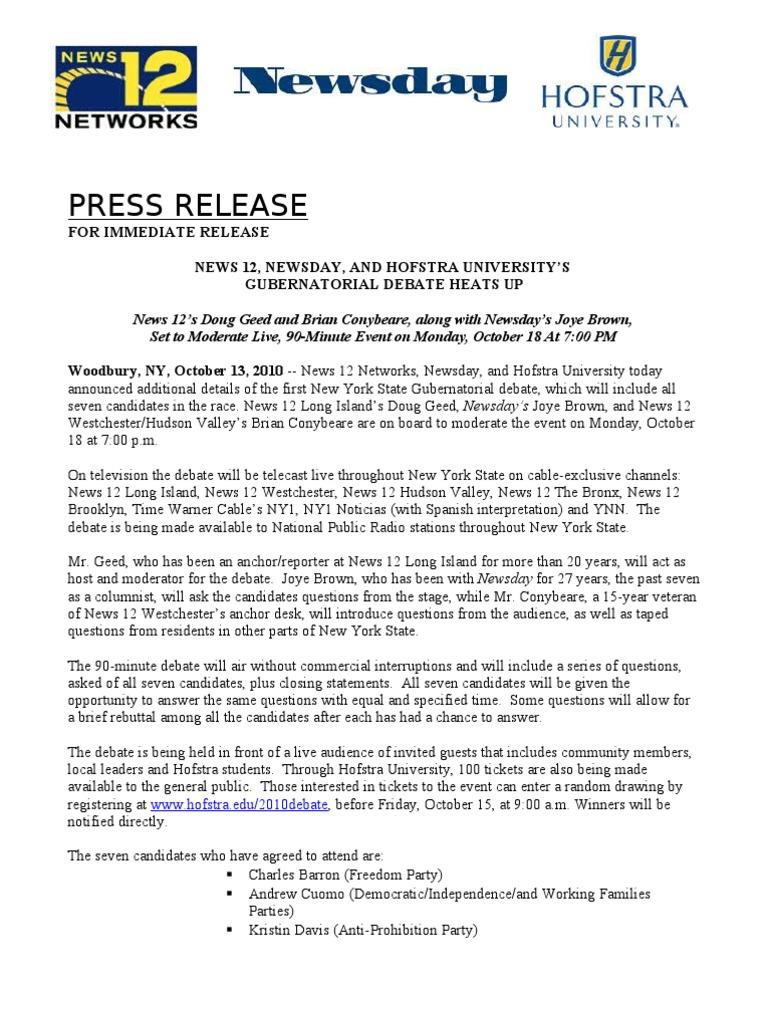 Oct 13 Final Debate Release | News | New York City