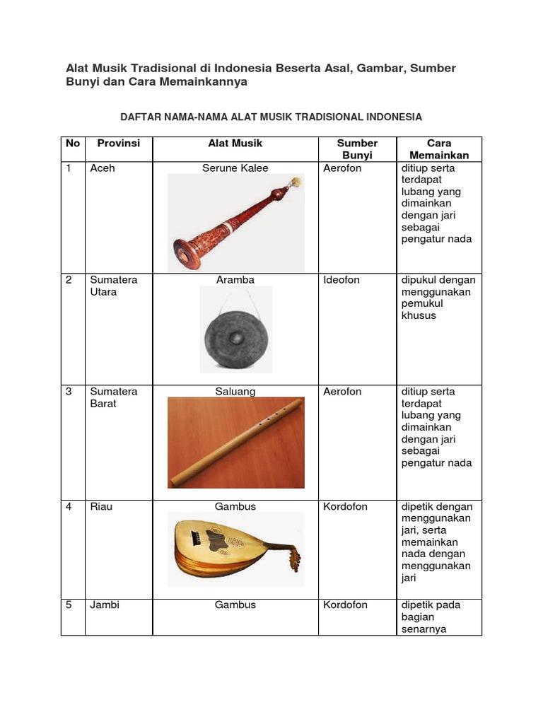 Alat Musik Tradisional Di Indonesia Beserta Asal