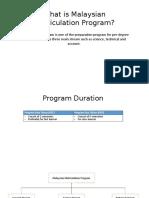 Mathematics in Matriculation Program