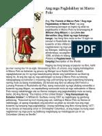 Ang Mga Paglalakbay Ni Marco Polo