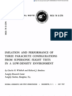 INFLATION AND PERFORMANCE OF THREE PARACHUTE CONFIGURATIONS FROM SUPERSONIC FLIGHT TESTS IN A LOW-DENSITY ENVIRONMENT