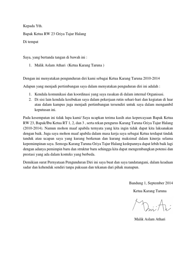 Surat Pengunduran Diri Organisasi Pdf
