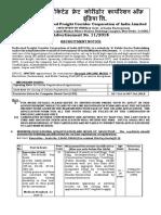 DFCCIL Revised Advertisement for Website