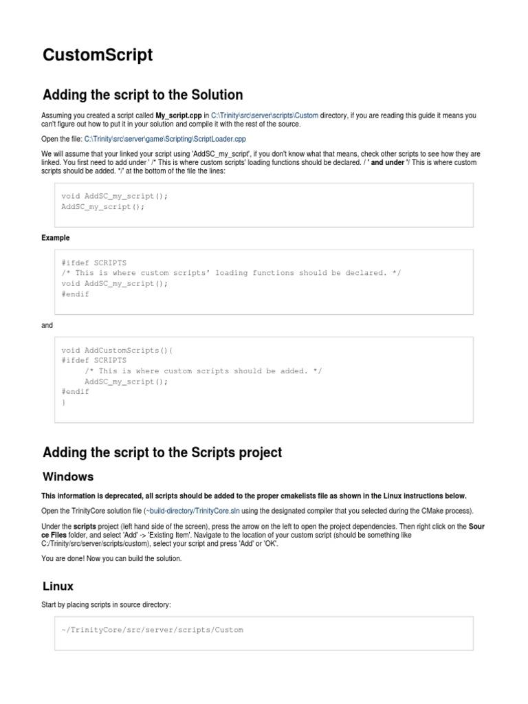 Trinity Core Custom Script | Computer File | Computer Programming